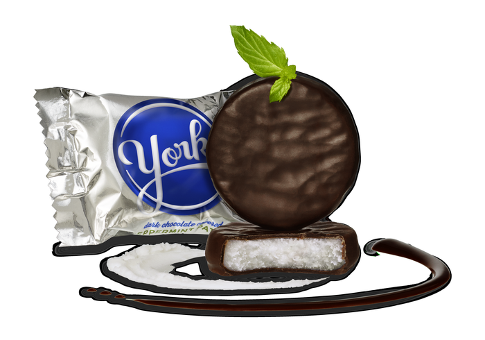 Image of YORK Peppermint Patties Miniatures - 25 lbs. [25 lbs. box] Packaging