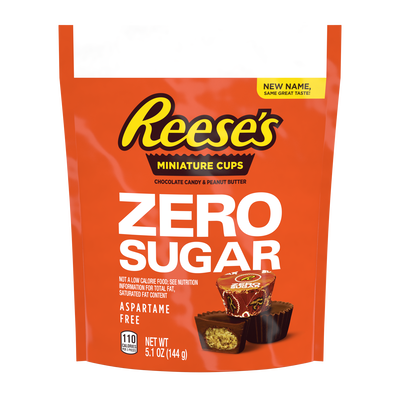 REESE'S Zero Sugar Miniatures Chocolate Candy Peanut Butter Cups, 5.1 oz bag