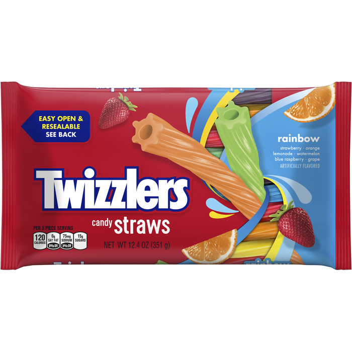Image of TWIZZLERS Rainbow Candy Straws - 12.4 oz. Packaging