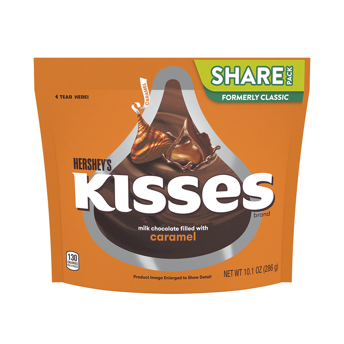 Image of KISSES Milk Chocolates Filled with Caramel, 10.1 oz. bag Packaging