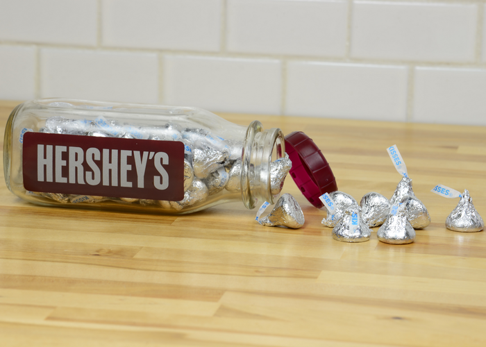 Image of HERSHEY'S KISSES Filled Milk Bottle Jar Packaging