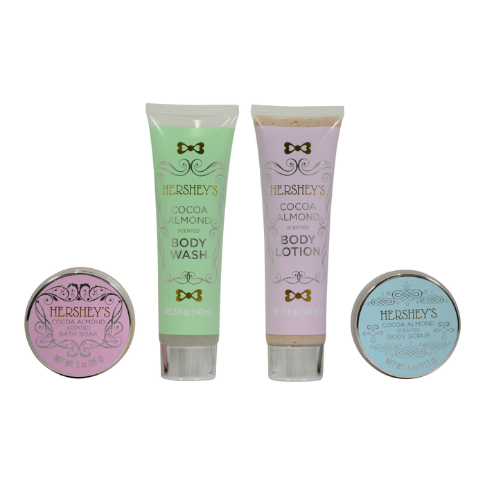 Image of HERSHEY'S Cocoa Almond Relaxing Chocolate Spa Gift Set Packaging