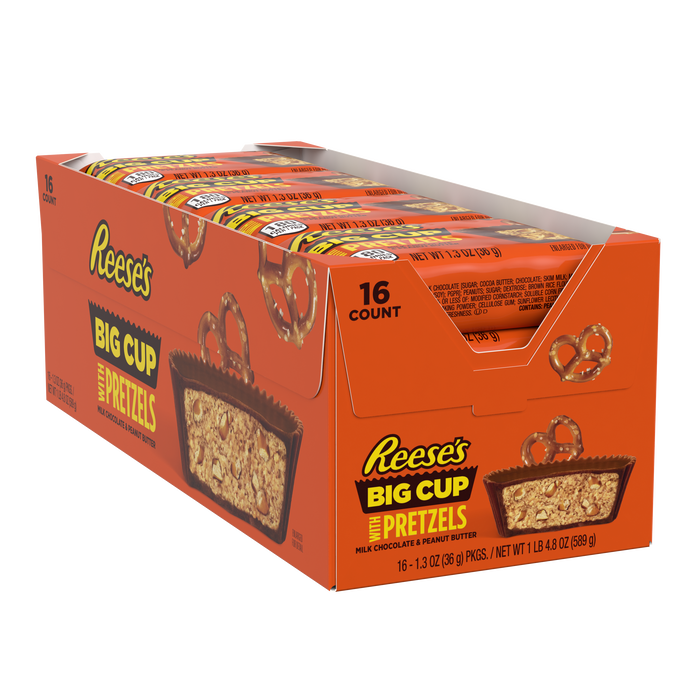 Image of REESE'S Big Cup with Pretzels Milk Chocolate Peanut Butter Cup, 1.3 oz Packaging