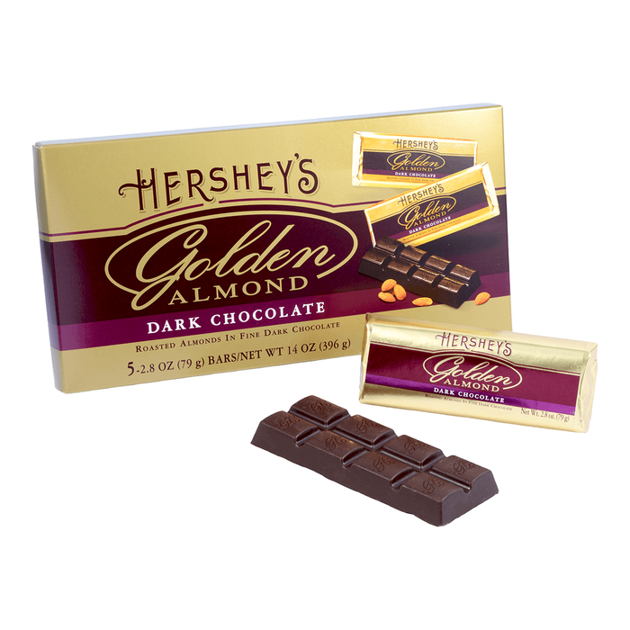 Image of HERSHEY'S GOLDEN ALMOND Dark Chocolate Bar Packaging
