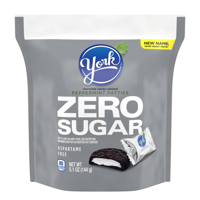 Image of YORK Zero Sugar Dark Chocolate Candy Peppermint Patties, 5.1 oz bag Packaging