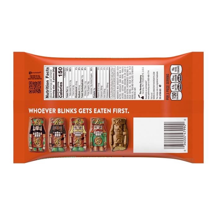 Image of REESE'S Milk Chocolate Peanut Butter Nutcrackers Snack Size Bag, 10 oz. Packaging