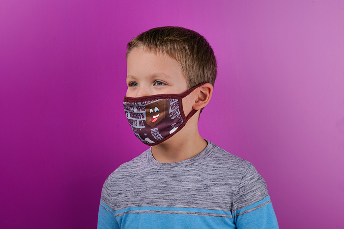 Image of HERSHEY'S Assorted Face Masks Youth Size 4 Pack Packaging