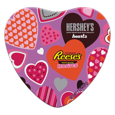 Gift Tin Featuring HERSHEY'S Milk Chocolate Hearts and REESE'S Peanut Butter Hearts