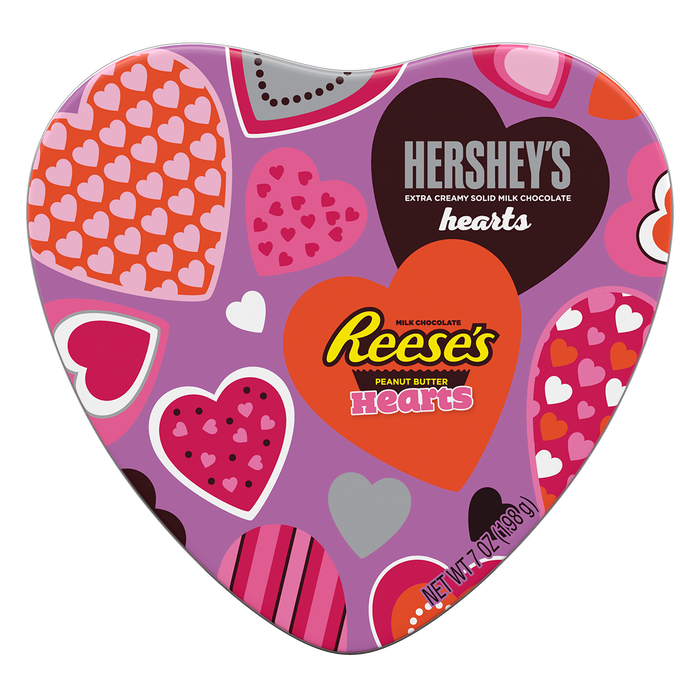 Image of Gift Tin Featuring HERSHEY'S Milk Chocolate Hearts and REESE'S Peanut Butter Hearts, 7 oz. bag Packaging