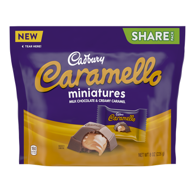 CADBURY CARAMELLO Miniatures Milk Chocolate & Creamy Caramel Candy, 8 oz pack