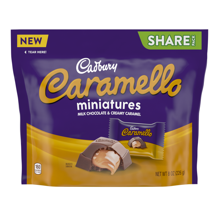 Image of CADBURY CARAMELLO Miniatures Milk Chocolate & Creamy Caramel Candy, 8 oz pack Packaging