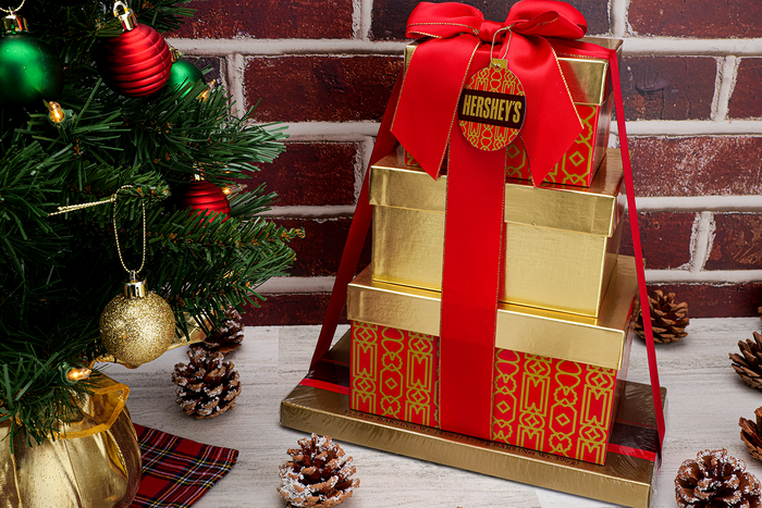 Image of HERSHEY'S Four-Box Holiday Gift Tower Packaging