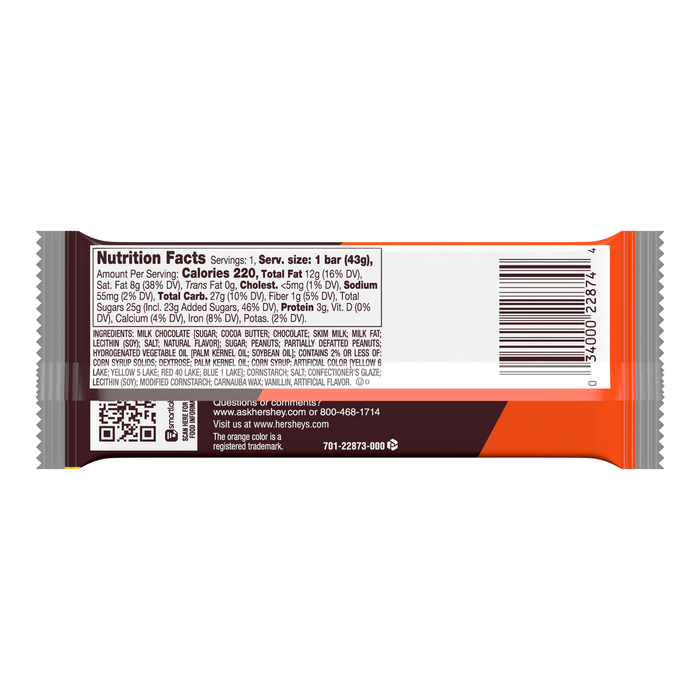 Image of HERSHEY'S Milk Chocolate with REESE'S Pieces Standard Bar [36-Pack (36 x 1.55 oz. bar)] Packaging