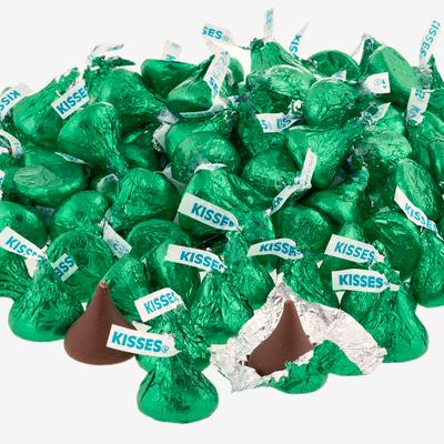 KISSES Milk Chocolates in Dark Green Foils - 4.16 lbs.