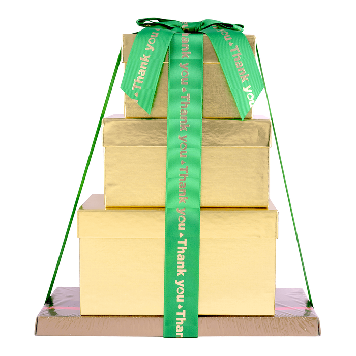 Image of HERSHEY'S Four-Box Chocolate Thanks Gift Tower Packaging