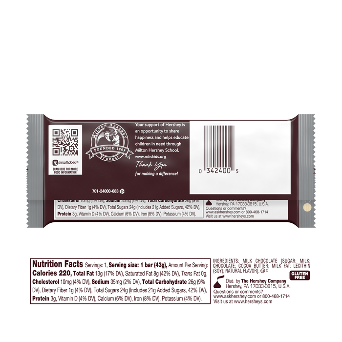 Image of HERSHEY'S Milk Chocolate Standard Bar (36 ct.) [12-Pack (12 x 1.55 oz. bar)] Packaging