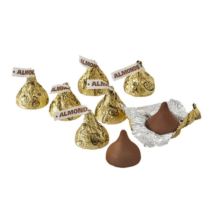 Image of KISSES Milk Chocolates with Almonds in Gold Foils - 4.16 lbs. [4.16 lb. bag] Packaging