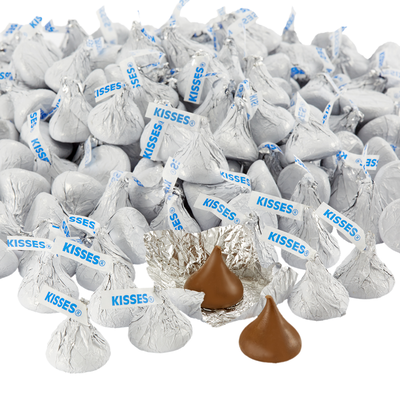 KISSES Milk Chocolates in White Foils - 4.16 lbs.