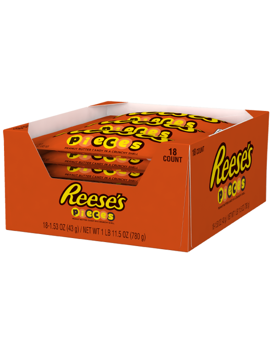 Image of REESE'S PIECES Candy Standard Bag [18-Pack (18 x 1.53 oz. bag)] Packaging