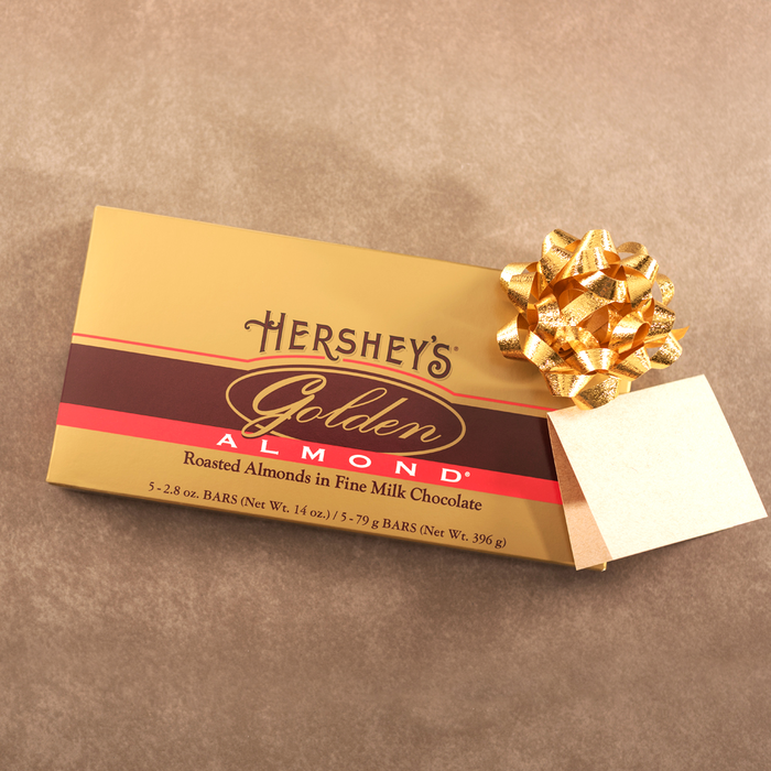 Image of HERSHEY'S GOLDEN ALMOND Bar - 5 bar gift box [14 oz. box] Packaging