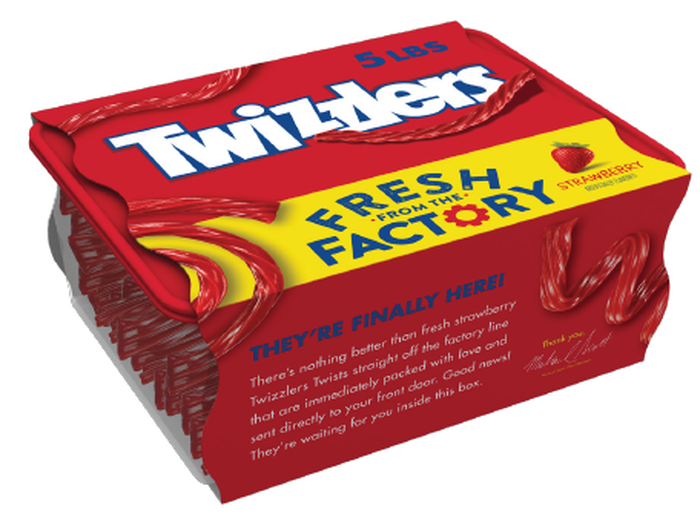 """Image of TWIZZLERS """"Fresh From the Factory"""" Strawberry Twists [5 lb. box] Packaging"""