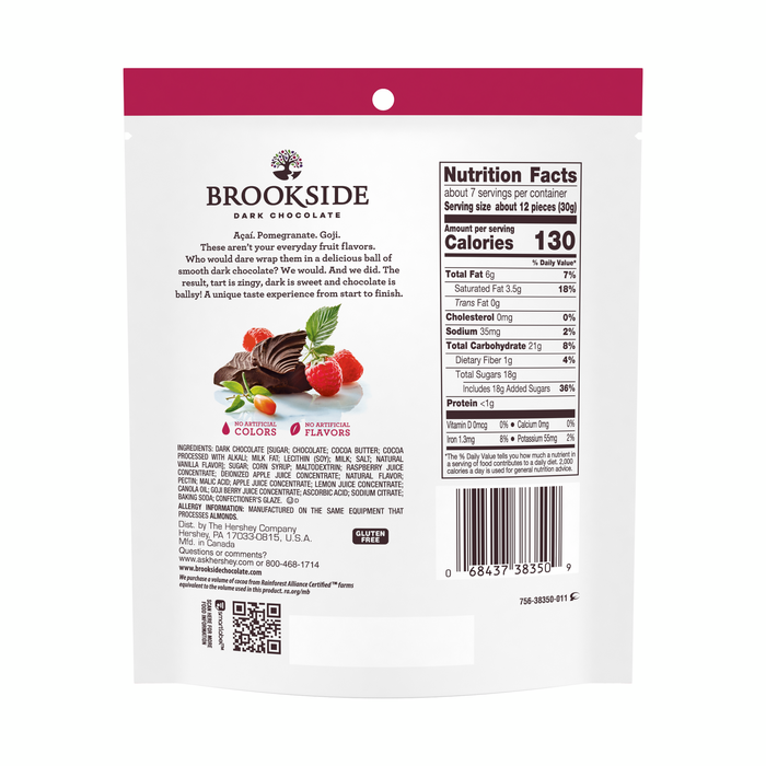 Image of BROOKSIDE Dark Chocolate Goji with Raspberry - 7 oz. [7 oz. bag] Packaging
