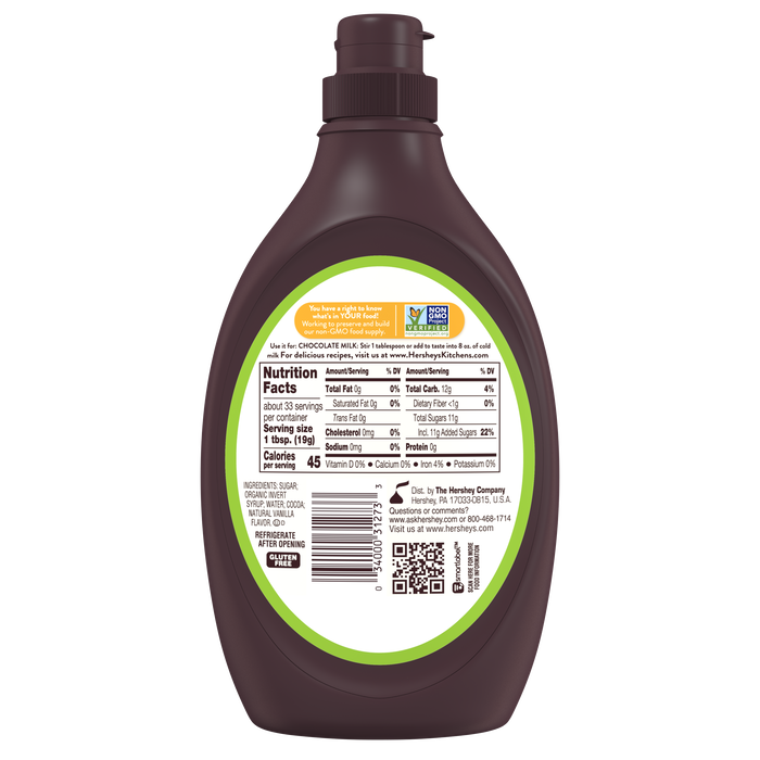 Image of HERSHEY'S Simply 5 Chocolate Syrup 21.8 oz. bottle Packaging