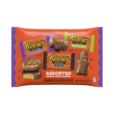 REESE'S Halloween Milk Chocolate Peanut Butter Snack Size Assorted Shapes, 9.6 oz bag