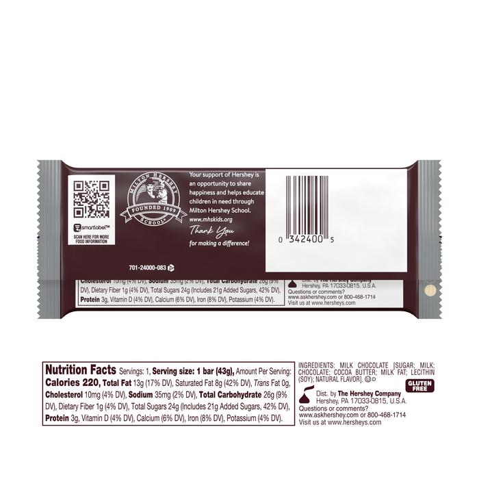 Image of HERSHEY'S Milk Chocolate Standard Bar (36 ct.) [36-Pack (36 x 1.55 oz. bar)] Packaging