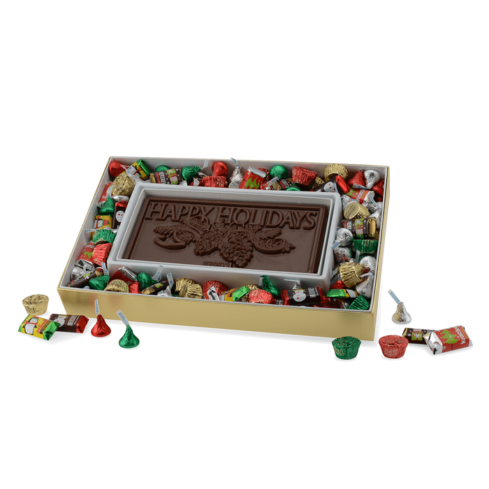 Image of HERSHEY'S Milk Chocolate Moulded Bar Surrounded by Assorted Holiday Candies, 12 oz. [12 oz. box] Packaging