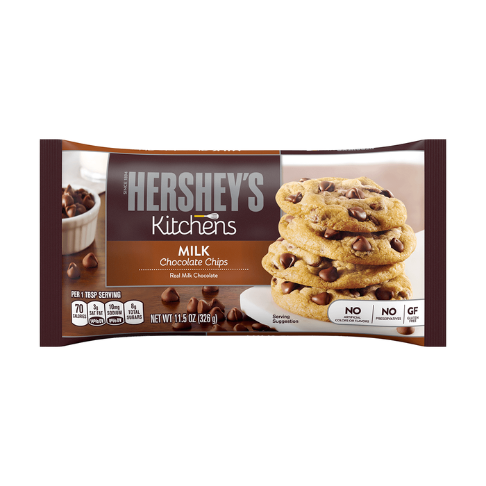 Image of HERSHEY'S Milk Chocolate Baking Chips, 11.5 oz. Bag Packaging