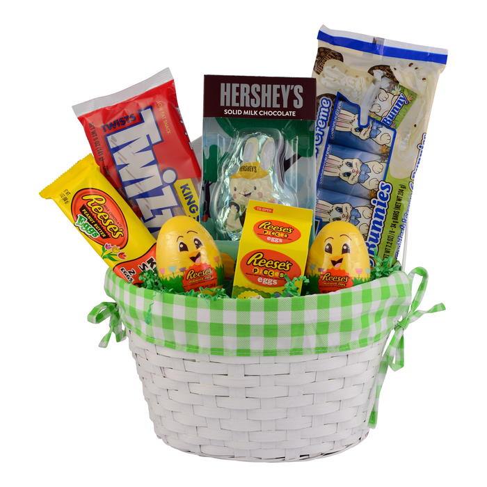Image of Hershey's Easter Basket with SPEEDY BUNNY Milk Chocolate Bunny GREEN 1 Basket Packaging