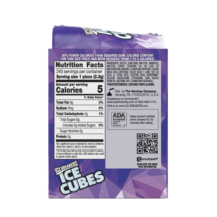 Image of ICE BREAKERS ICE CUBES Arctic Grape Gum, 3.24 oz. - 4 ct. Packaging