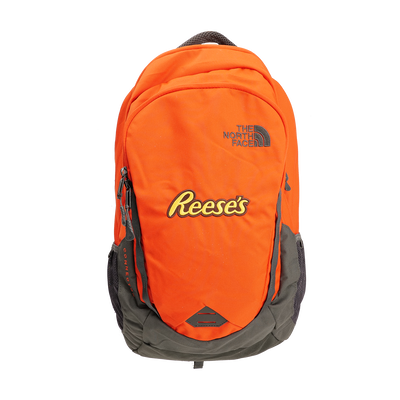 Orange North Face Back Pack with the REESE'S Logo
