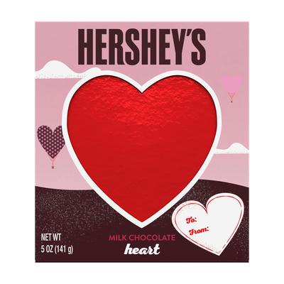 Valentines HERSHEY'S Solid Milk Chocolate Heart, 5 oz.