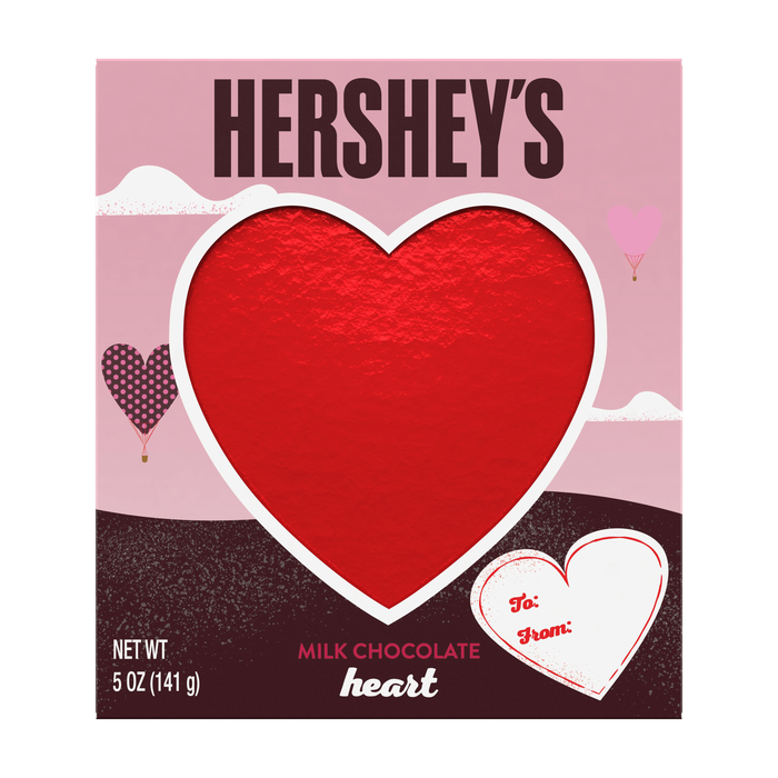 Image of Valentines HERSHEY'S Solid Milk Chocolate Heart, 5 oz. Packaging