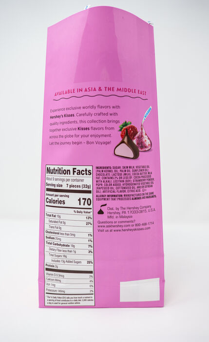 Image of HERSHEY'S KISSES Flavors of the World Strawberry Candy, 10 oz. Packaging