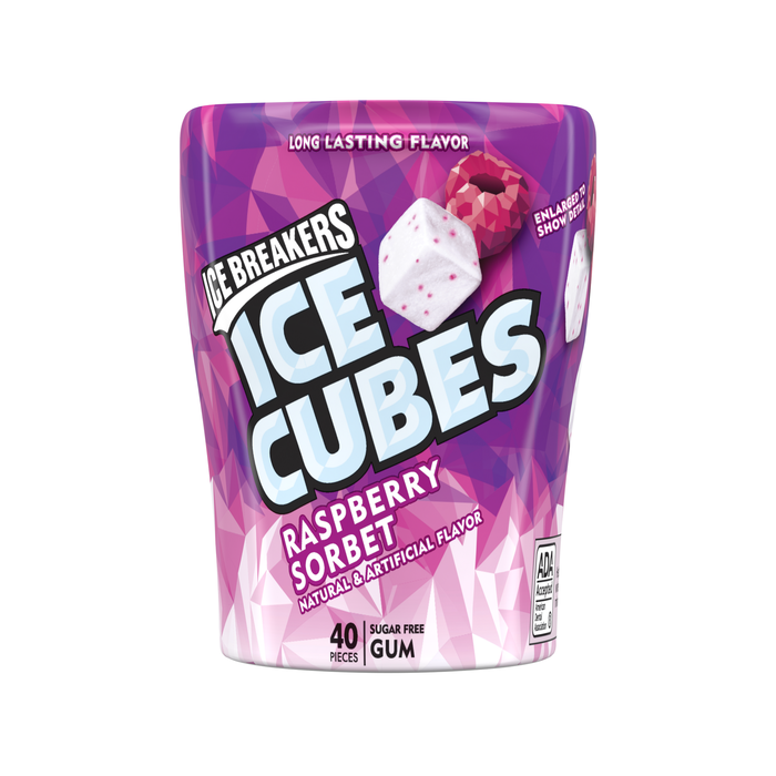 Image of ICE BREAKERS ICE CUBES Raspberry Sorbet Gum, 3.24 oz. - 4 ct. Packaging