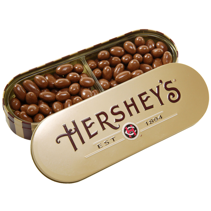 Image of HERSHEY'S Chocolate Covered Almonds Tin Packaging