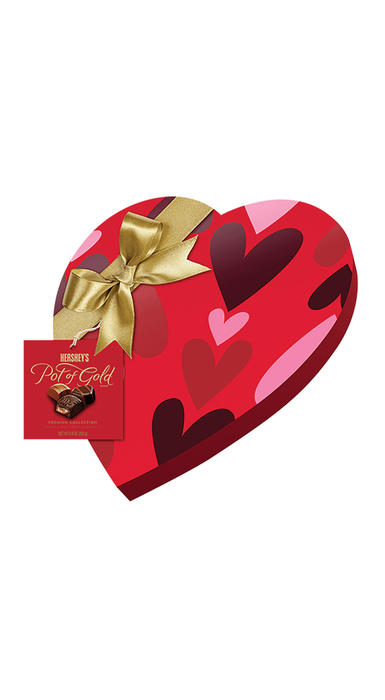 Image of HERSHEY'S POT OF GOLD Premium Assorted Chocolates, Red Heart Box Packaging