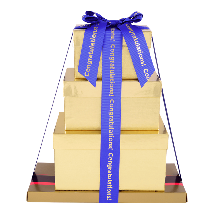Image of HERSHEY'S Four-Box Chocolate Congrats Gift Tower Packaging