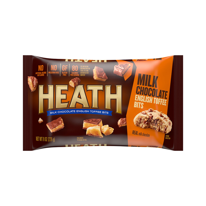 Image of HEATH Milk Chocolate Toffee Bits, 8 oz. Bag Packaging