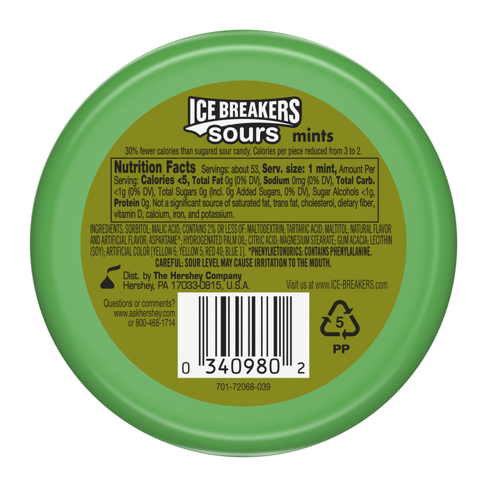 Image of ICE BREAKERS Original Sours Mints (Green Apple, Watermelon, Tangerine) Packaging