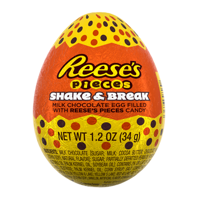 REESE'S Pieces Shake & Break Milk Chocolate Eggs Filled With REESE'S Pieces Candy, 1.2 oz.