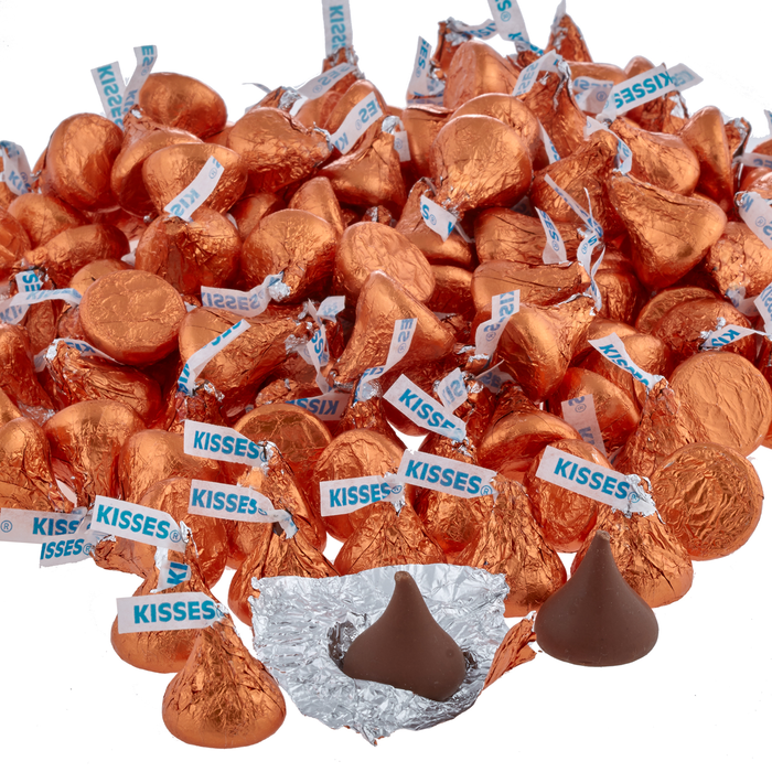 Image of KISSES Milk Chocolates in Orange Foils - 4.16 lbs. Packaging