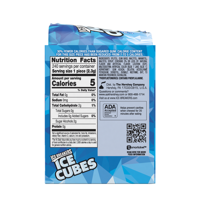 Image of ICE BREAKERS ICE CUBES Peppermint Gum, 3.24 oz. - 4 ct. Packaging