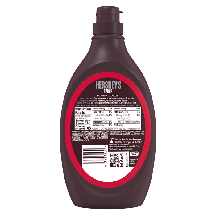 Image of HERSHEY'S Chocolate Syrup 24 oz. bottle Packaging
