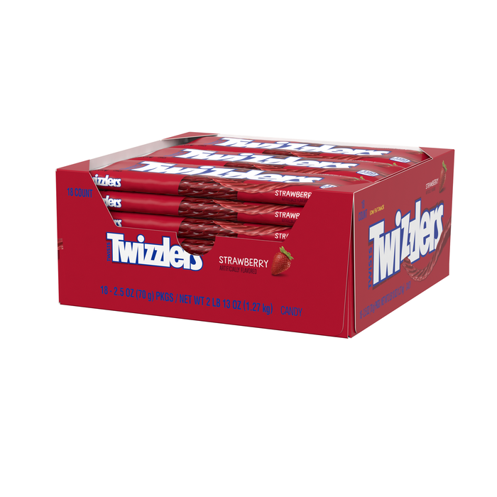 Image of TWIZZLERS Strawberry Twists Standard Bar [18-Pack (18 x 2.5 oz. bar)] Packaging