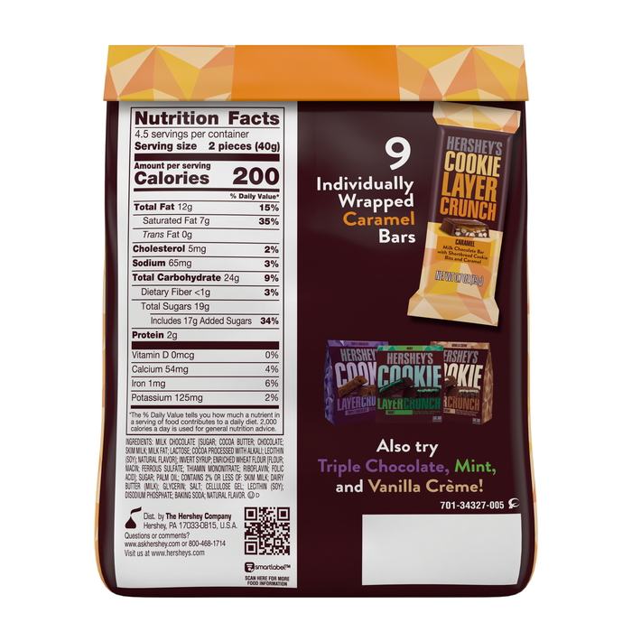 Image of HERSHEY'S COOKIE LAYER CRUNCH Bar - Caramel (Stand-up Pouch) [6.3 oz. stand-up pouch] Packaging