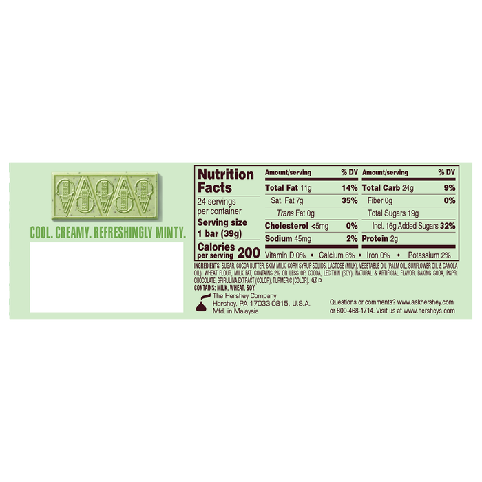 Image of HERSHEY'S Ice Cream Shoppe Cookies 'N' Mint Flavored Candy Bar, 24-Pack (24 x 1.38 oz. bar) Packaging
